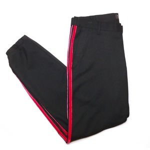 Zara Man black and red velvet joggers trousers
